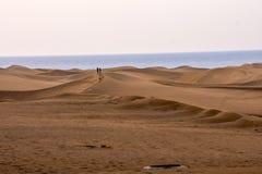 有沙丘的沙漠在大加那利岛西班牙 库存照片
