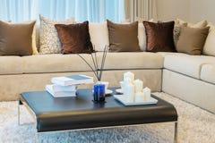有沙发和棕色枕头的现代客厅 图库摄影