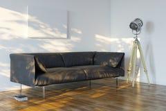 有沙发和聚光灯的Minimalistic室 皇族释放例证