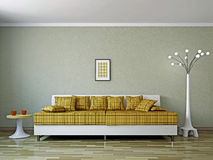 有沙发和闪亮指示的客厅 皇族释放例证