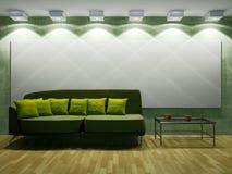 有沙发和闪亮指示的客厅 库存照片