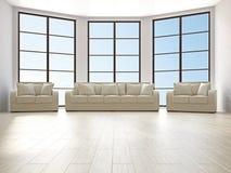 有沙发的客厅和扶手椅子 免版税库存照片