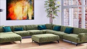 有沙发3D翻译例证的现代明亮的内部公寓客厅 股票视频