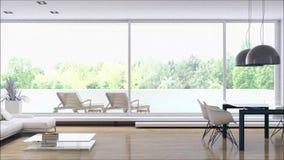 有沙发3D翻译例证的现代明亮的内部公寓客厅 股票录像
