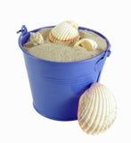有沙子和壳的桶 库存图片