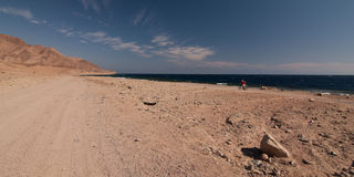 有沙子和太阳的西奈沙漠在蓝天下在海上的12月 库存照片