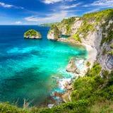 有沙滩,棕榈树的,礁石惊人的热带海岛和 免版税库存照片