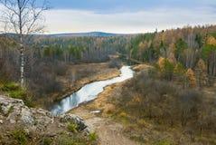 有河的秋天森林 免版税库存照片
