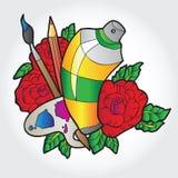 有油漆、刷子和喷漆的调色板在玫瑰 免版税库存图片