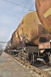 有油的货物火车 免版税库存图片