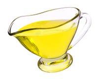 有油的玻璃调味汁瓶 免版税库存图片