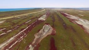 有沿海盐沼的,鸟瞰图盐湖 影视素材