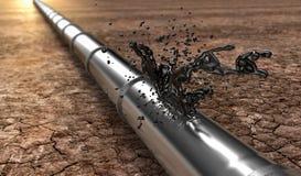 有泄漏的油的Bursted油管子 图库摄影