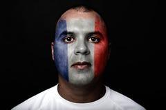 有法国旗子的人 免版税库存照片