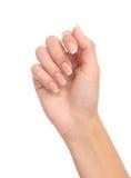 有法式修剪钉子的美好的妇女手 免版税库存照片