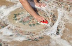 有泡沫的洗涤的地毯 免版税库存图片