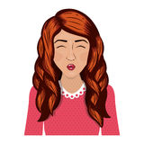 有波浪红色头发的半身体妇女 库存照片