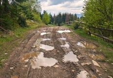 有泥泞的水坑的残破的国家土路在雨以后 库存照片
