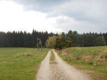 有泥的土路在乡下 库存照片