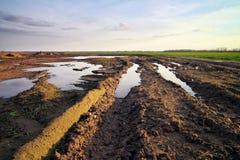 有泥和水坑的肮脏的路 免版税库存图片