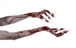 有注射器的在手指,脚趾注射器,手注射器,可怕的血淋淋的手,万圣夜题材,蛇神医生血淋淋的手,白色 免版税库存图片