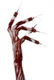 有注射器的在手指,脚趾注射器,手注射器,可怕的血淋淋的手,万圣夜题材,蛇神医生血淋淋的手,白色 免版税图库摄影