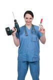 有注射器的女性医生 免版税库存图片