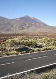 有泰德峰火山的风景柏油路在距离,特内里费岛,西班牙 库存照片