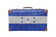 有洪都拉斯旗子的葡萄酒手提箱 免版税库存照片
