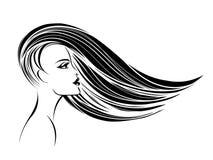 有流动在风和典雅的构成的长的头发的美丽的妇女 皇族释放例证