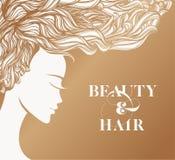 有流动在风的波浪发的美丽的妇女 皇族释放例证