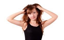 有流动的头发的女孩 免版税库存图片