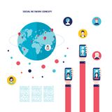 有流动聪明的电话全球性通信infographic元素的社会网络概念商人手 皇族释放例证