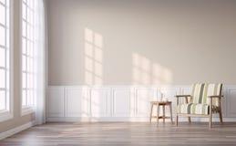 有浅褐色的墙壁的3d现代葡萄酒客厅回报 皇族释放例证