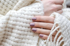 有浅紫色的钉子设计的美好的女性手 免版税图库摄影
