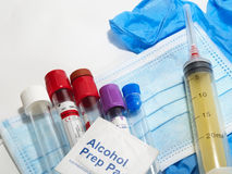 有测试标签的汇集管在与个人p的医疗图 库存照片