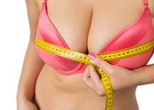 有测量她的胸象的大乳房的妇女 库存图片