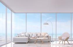 有海图3d翻译图象的现代白色客厅 有大窗口俯视对海视图 库存图片