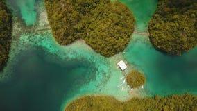 有海岛的蓝色盐水湖 股票录像