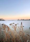 有海岛的冻湖在荷兰 库存图片