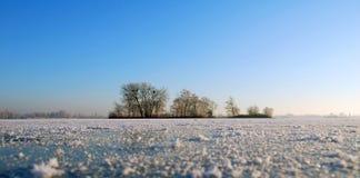 有海岛的冻湖在荷兰 免版税库存图片