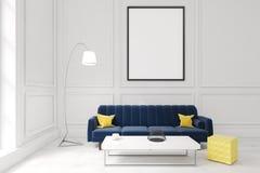 有海报、深蓝沙发和咖啡桌的客厅 向量例证
