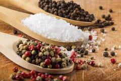 有海盐和干胡椒的木匙子在木头 库存图片