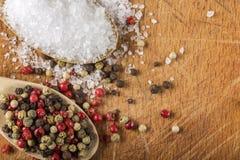 有海盐和干胡椒的木匙子 免版税图库摄影