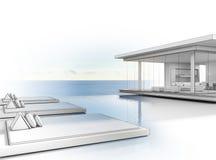 有海视图游泳池的,现代别墅剪影设计豪华海滨别墅大家庭的 库存照片