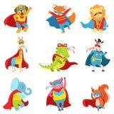 有海角的动物被设置的超级英雄和面具 免版税库存照片