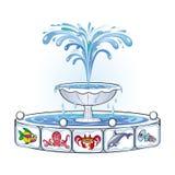 有海洋生物的图象的喷泉 库存图片