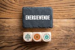 有消息的'能量革命'板岩板材用德语 免版税库存照片