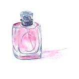 有润肤水的桃红色香水瓶。水彩例证。 免版税库存图片