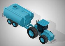 有液体撒肥机的农用拖拉机 皇族释放例证